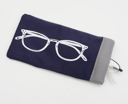 Navy glasses case with grey lining