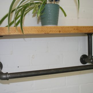 industrial pipe clothes rail with rustic shelf for the British craft house