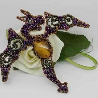 Dragon Seed bead wire formed Brooch