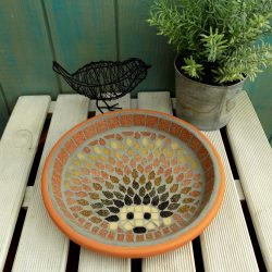 mosaic garden bird bath for wildlife including hedgehogs