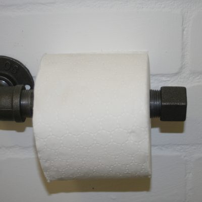toilet roll holder in chunky steel pipe