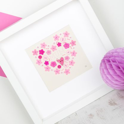 hand sewn heart button art personalised 2