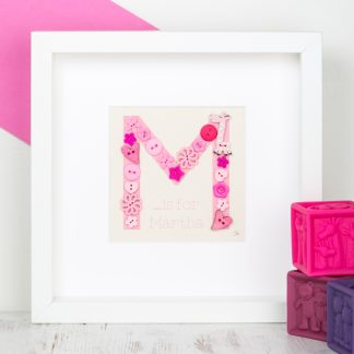 hand sewn button personalised initial button art m is for martha