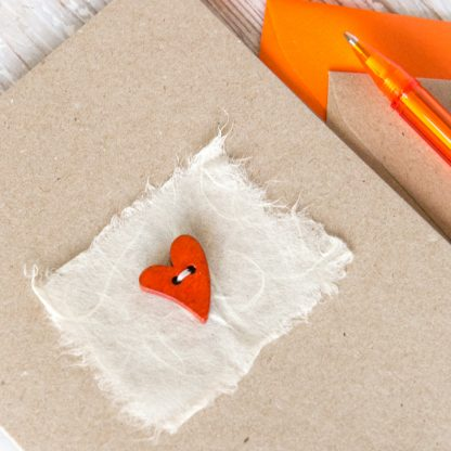 hand sewn wooden heart on mulberry paper greetings card 3