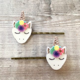 Cute unicorn rainbow hair clips