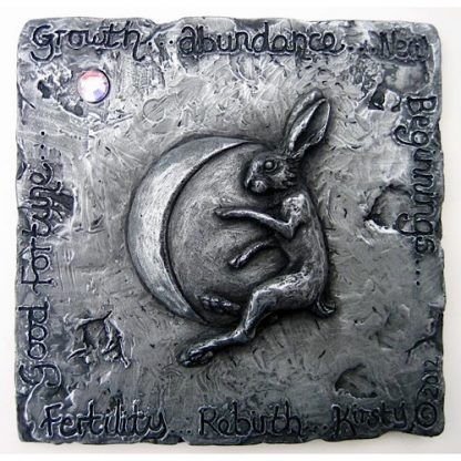 Sculpted relief plaque in cold-cast Pewter showing a Hare and the moon
