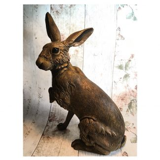 Sitting Hare Sculpture ornament in cold-cast iron with metallic wax finish
