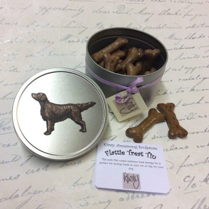 Flat coated retriever dog treat tin