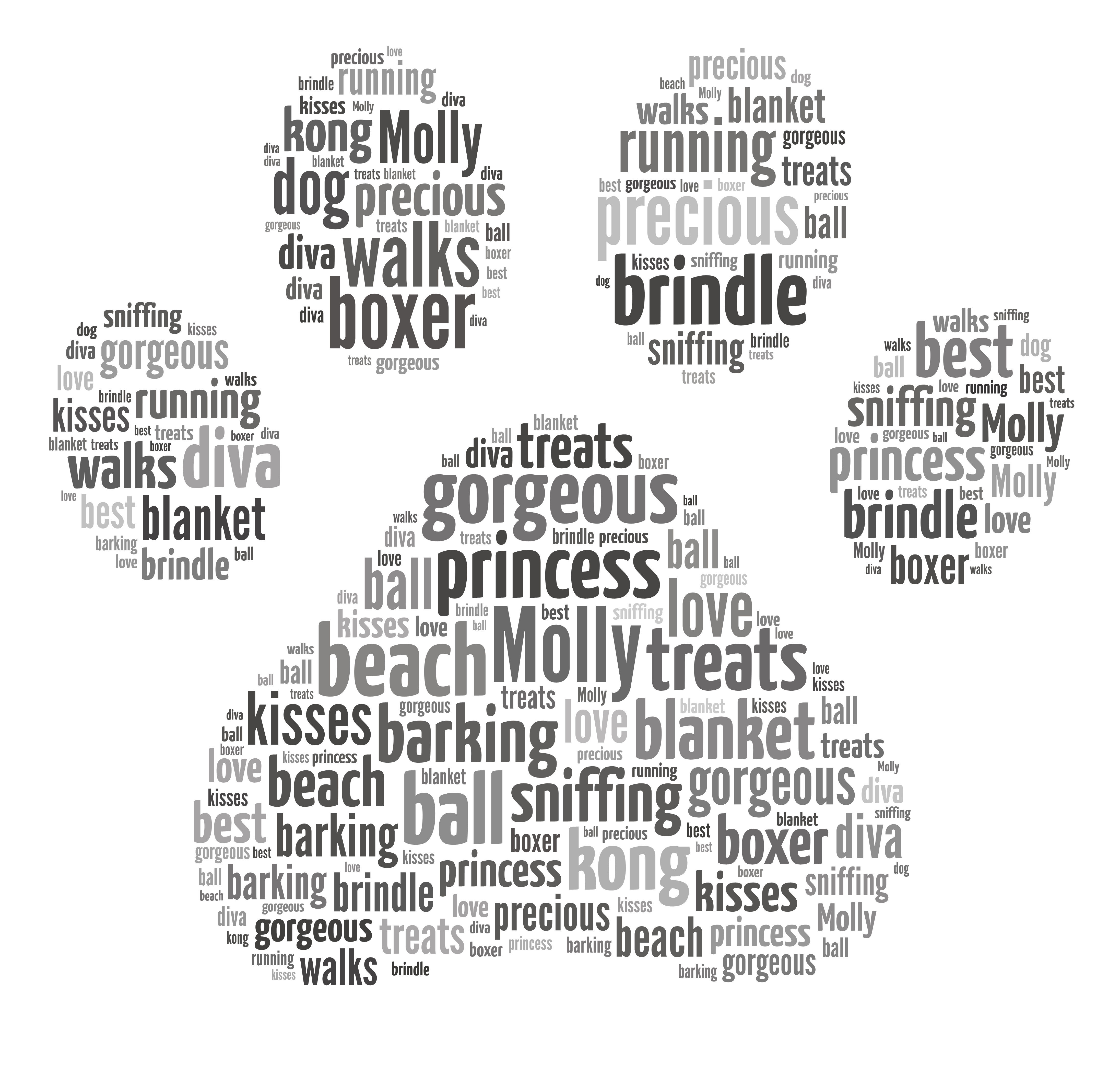 WordWorks Personalised Staffordshire Bull Terrier Staffy Dog Puppy Word Art Print Unique Keepsake Gift ANY BREED OF DOG CAN BE MADE