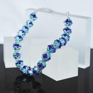 Beaded Bead Necklace in Aquamarine and Cobalt image
