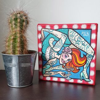 The Contortionist hand painted mini box canvas by Mel Langton Art