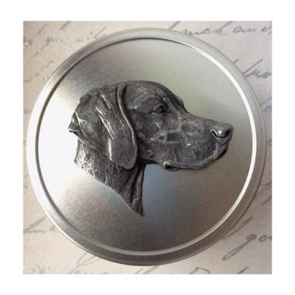 Weimaraner dog treat tin with detailed metal relief of a dog's head on the lid