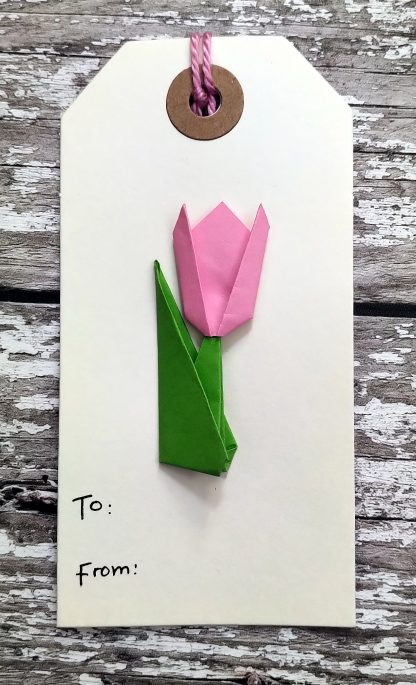 Origami tulip gift tag - pink