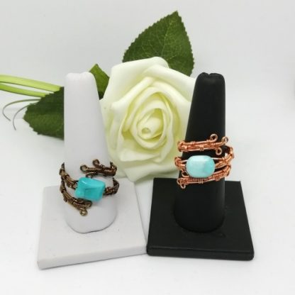 howlite rings on stands