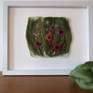 In a Corner of the Garden handmade wet felt painting