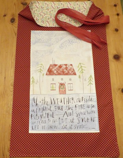 Shows full design of Christmas Stocking/Santa Sack with House