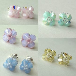 Pastel colours crystal stud earrings