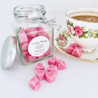 jar of miniature pink sugar hearts