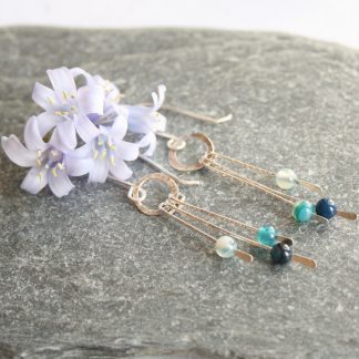 thistledown wishes Long silver agate earrings