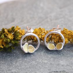 thistledown wishes sterling silver lichen earrings