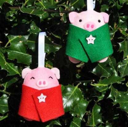 cute funny handmade pigs in blankets Christmas decoration
