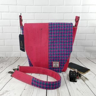 Harris Tweed and Cork Leather handbag. Pink and Turquoise