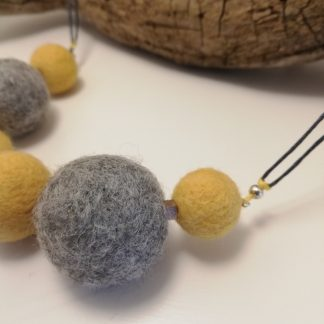 felt ball necklace yellow and grey