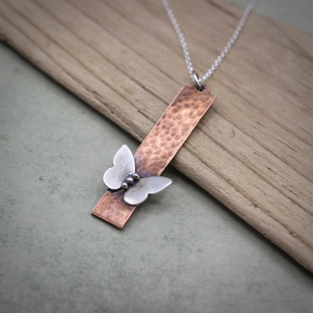 Butterfly Pendant Necklace Silver or Copper