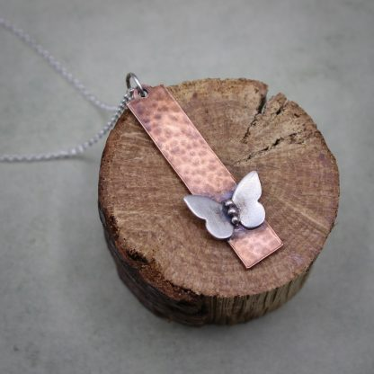 Copper & Silver Butterfly Pendant Necklace
