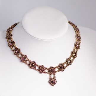 Vintage style bronze and purple choker necklace