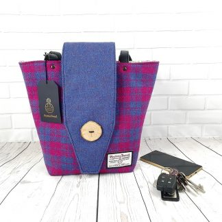 Cerise and Blue Harris Tweed handbag