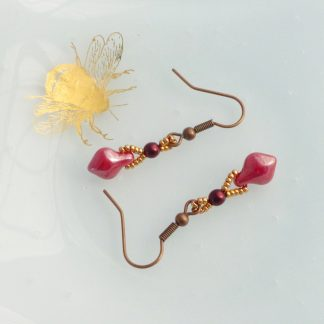 Copper and red beaded drop earrings