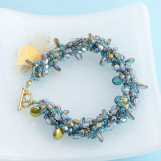 gold and blue mermaid scale bracelet