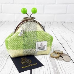green check harris tweed purse