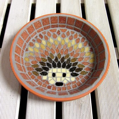Mosaic hedgehog design water dish for garden wildlife