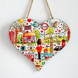 Hanging heart British themed london wooden hearts