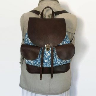 Blue Denim Floral Backpack