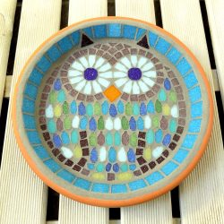 Mosaic bird bath with a unique handmade owl design created by josara