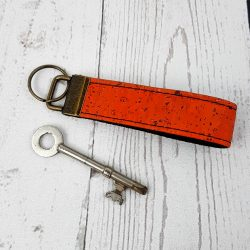 orange cork leather keyring