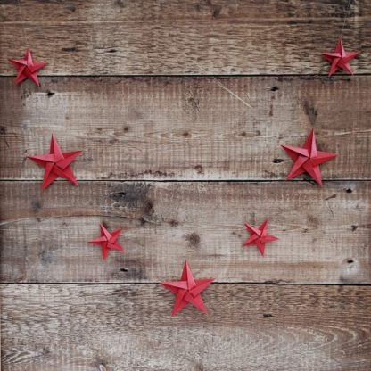 red origami star garland