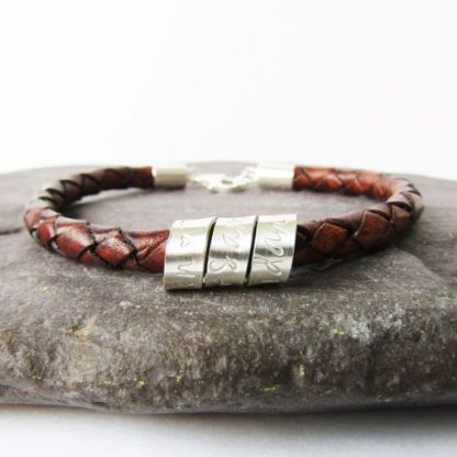 personalised silver braided leather bracelet