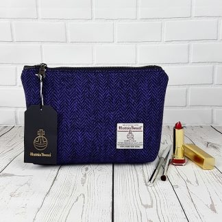 purple and black harris tweed cosmetic bag