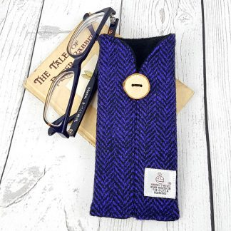 purple and black harris tweed glasses case