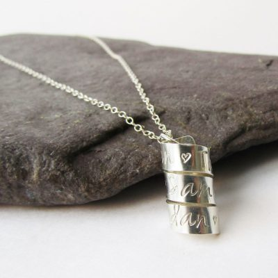 personalised stirling silver spiral necklace