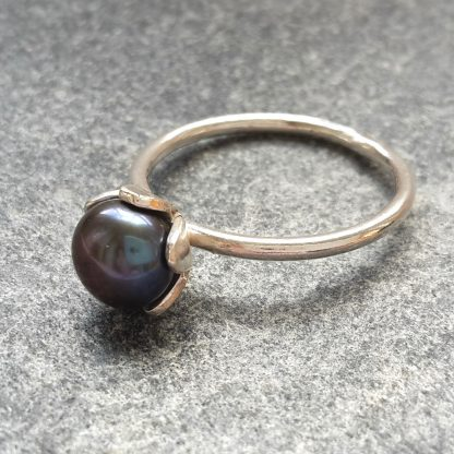 thistledown wishes sterling silver ring with peacock pearl