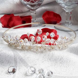 crystal and silver flowers tiara