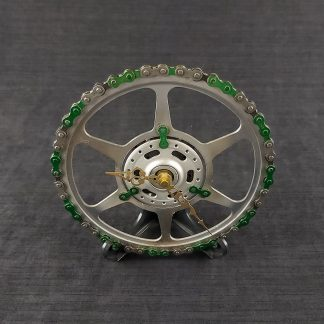 Recycled bicycle chainring and 2 colour chain clock