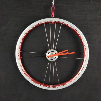 Flame design red and silver bicycle wheel clock
