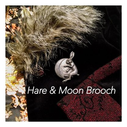 Hare and Moon Brooch
