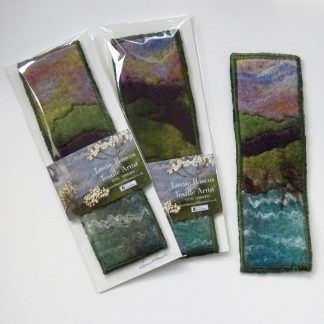 Handmade wet felt and free motion embroidered bookmark. Louise Hancox Textile Artist. Unique gift for her.
